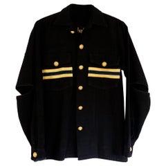 Jacket Blazer Black Military Gold Braids Gold Buttons Open Elbows J Dauphin
