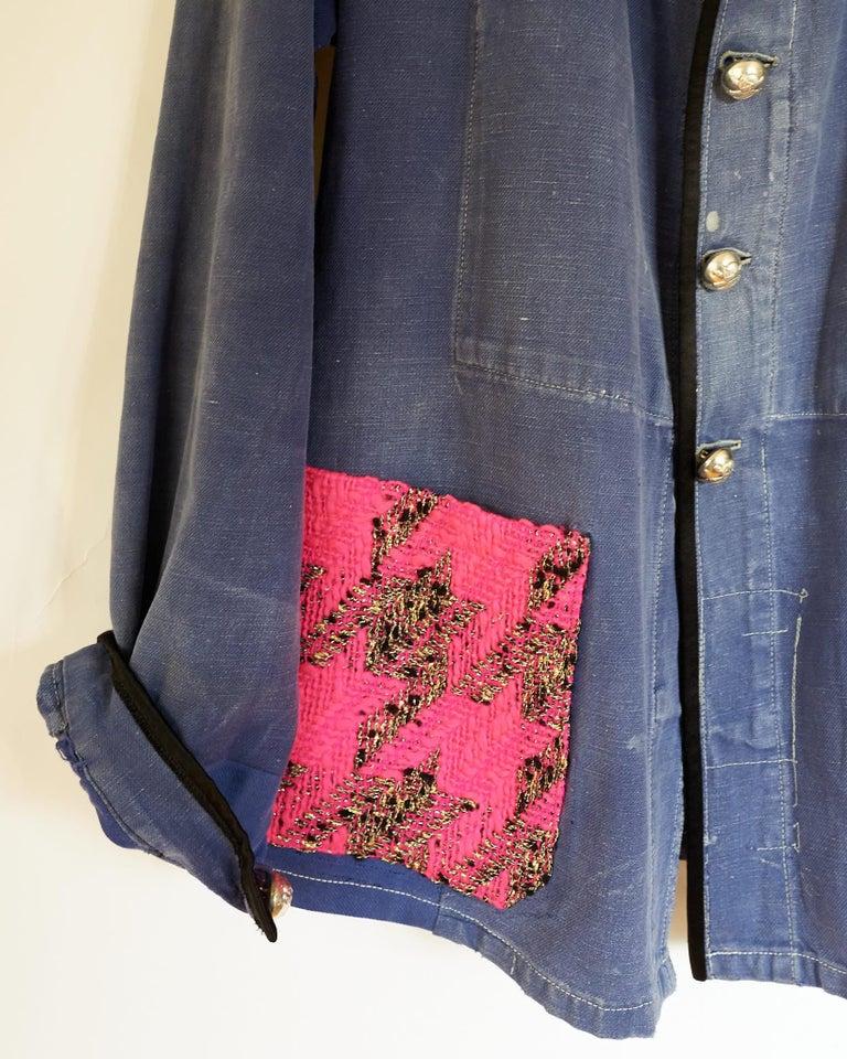 Purple Jacket Blue Vintage Designer Neon Pink Tweed French Work Wear J Dauphin For Sale