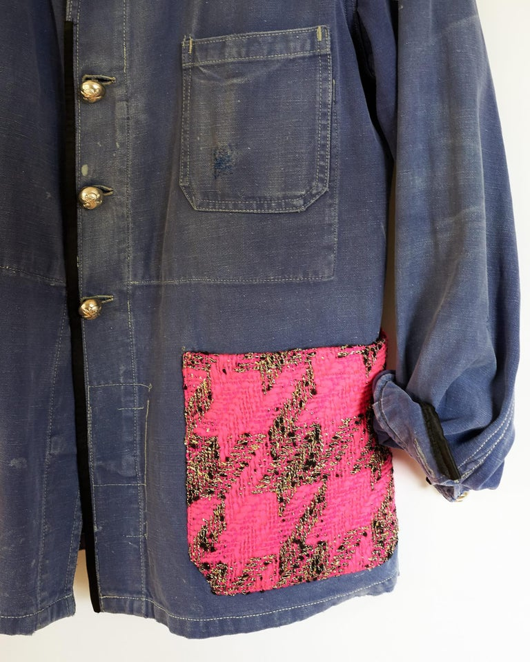 Jacket Blue Vintage Designer Neon Pink Tweed French Work Wear J Dauphin In New Condition For Sale In New York, NY