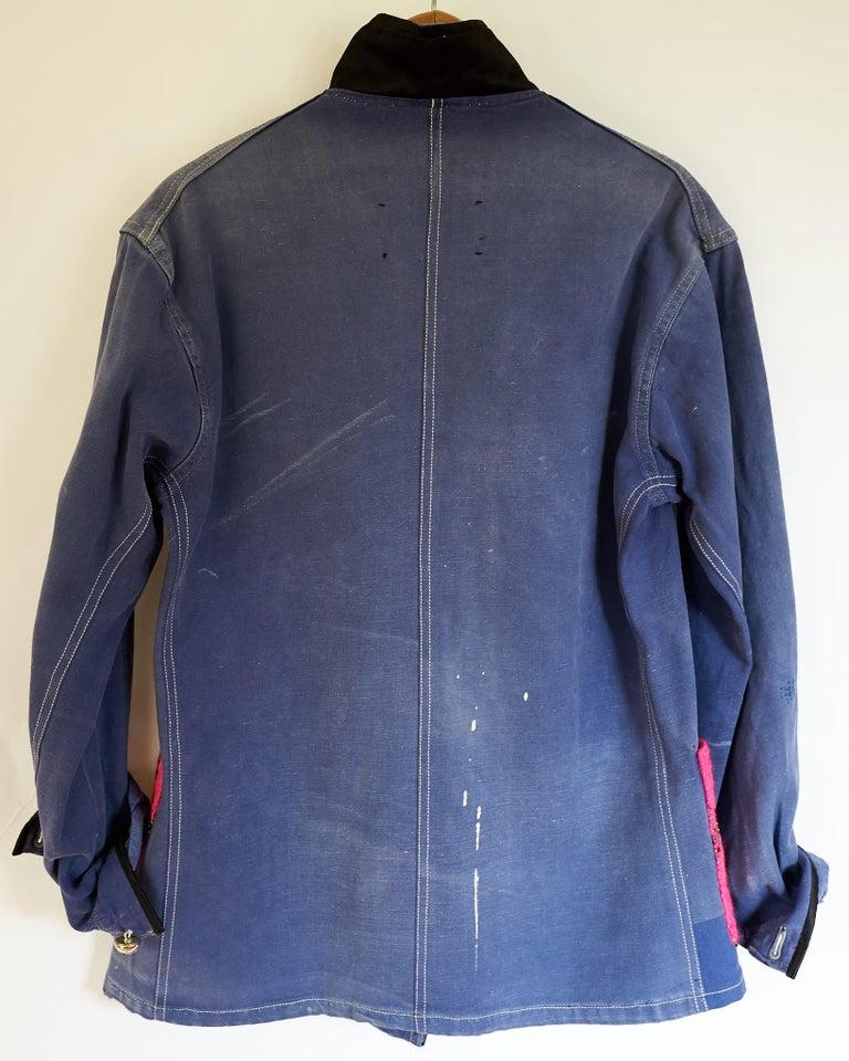 Women's Jacket Blue Vintage Designer Neon Pink Tweed French Work Wear J Dauphin For Sale