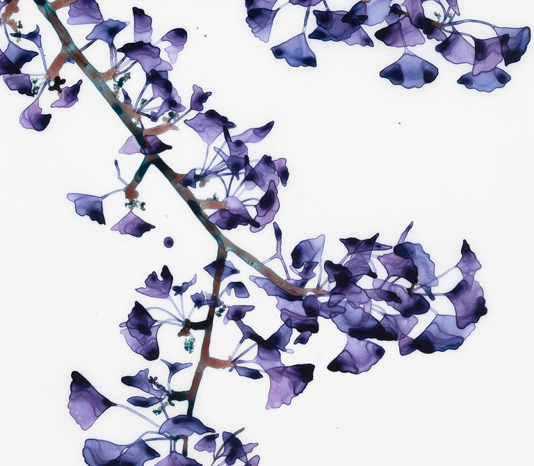 Delicate Slope Cs Vertical Botanical Painting on Mylar, Purple, Brown, Teal Blue For Sale 3