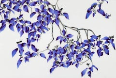 Entwine, Horizontal Botanical Tree on Mylar Painting in Bright Purple and Brown