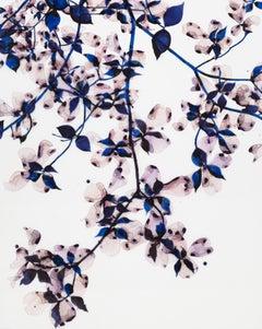 Ghost Blossom V, Vertical Botanical Painting on Mylar, Lilac Purple, Cobalt Blue