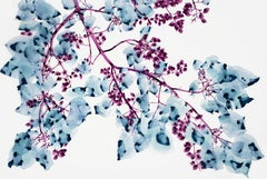 Peaking Through, Pale Blue and Purple Botanical Tree Painting on White Mylar