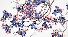 So Peachy, Large Horizontal Purple and Peach Botanical Painting On White Mylar