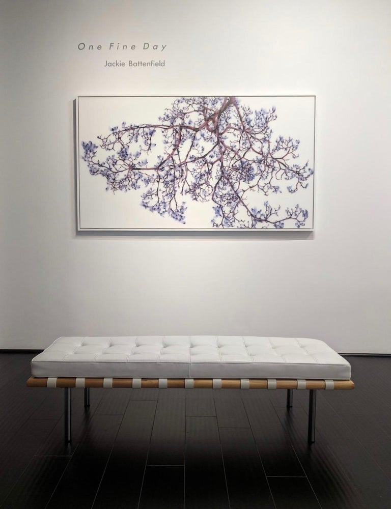 Vermiculate Magnolia, Large Horizontal Purple, White Botanical Painting On Mylar For Sale 1