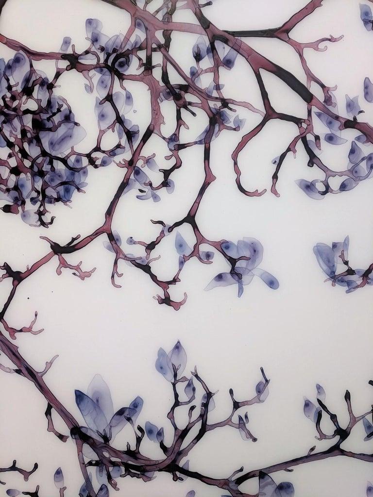 Vermiculate Magnolia, Large Horizontal Purple, White Botanical Painting On Mylar For Sale 3