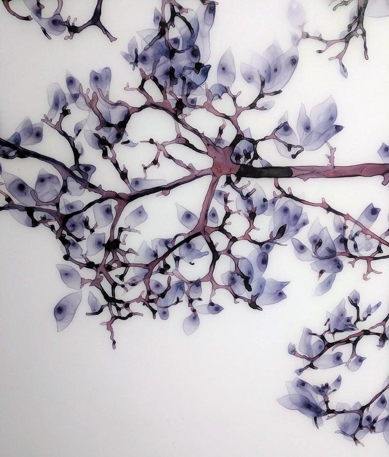 Vermiculate Magnolia, Large Horizontal Purple, White Botanical Painting On Mylar For Sale 4