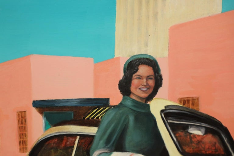 Jackie Kennedy Oil Painting by Jay Fleming In Good Condition For Sale In Palm Springs, CA