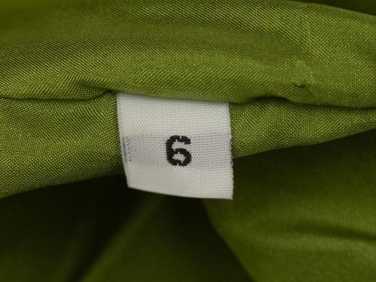 Jackie Rogers Lime Green One Shoulder Dress In Good Condition In New York, NY