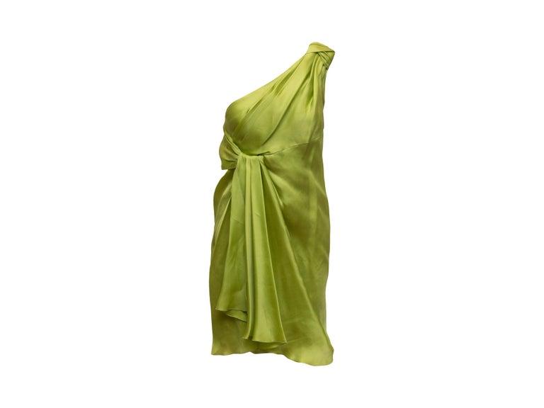 Women's Jackie Rogers Lime Green One Shoulder Dress