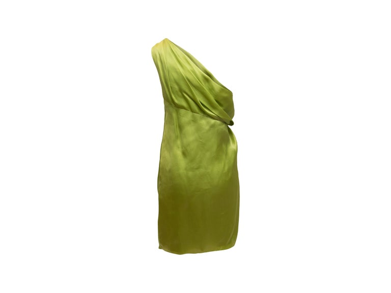 Jackie Rogers Lime Green One Shoulder Dress 2