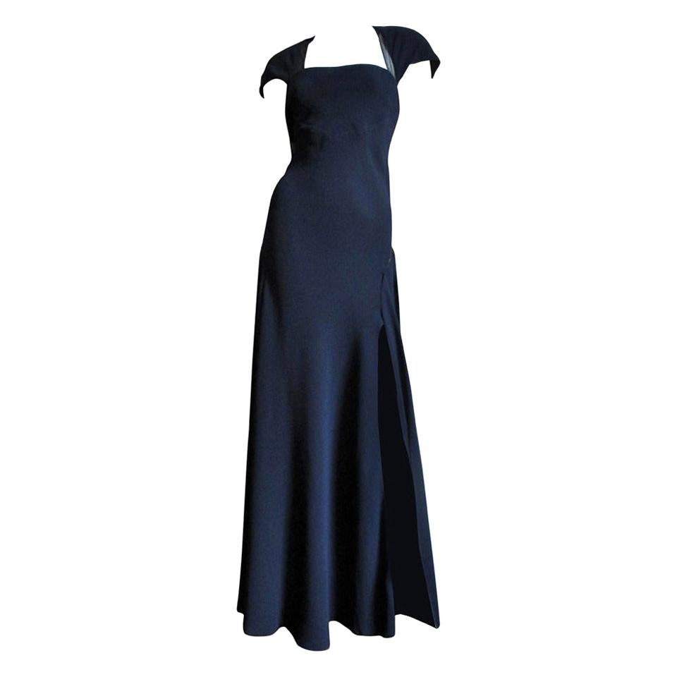 Jackie Rogers Navy Blue Silk Gown with Sheer Back