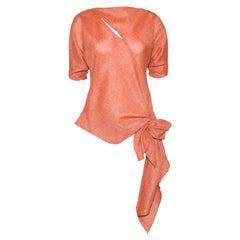 Jackie Rogers Orange Linen Blouse Slit on Bodice & Side Bow at Hem