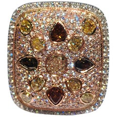 Jackpot 7.77 Carat Fancy Natural Colored and White Diamonds 2-Tone Gold Ring