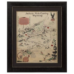"""Jackson Hole Country, Wyoming"" Vintage Pictorial Map by Harold Hopkinson, 1956"