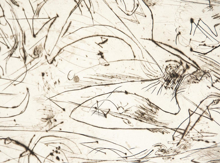 A print by Jackson Pollock. An Untitled engraving with drypoint print, abstract print, executed in black and white by Post War artist Jackson Pollock. Edition 18/50. Editioned in pencil, lower right,