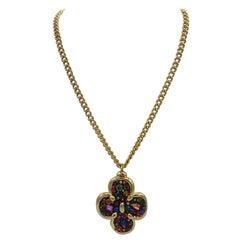 Jacky de G 1980s Gilt and Rhinestone Pendant Necklace