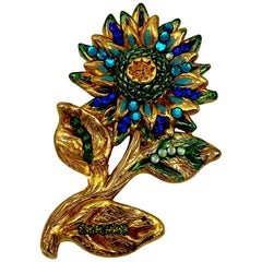 Jacky de G. 1980s Gold Plate on Carved Resin Flower Pin
