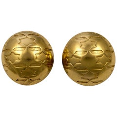 Jacky De G French Gold Plated Dome Shape Star Design Clip On Statement Earrings