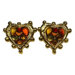 Jacky de G, Paris Large Jeweled Heart Earrings