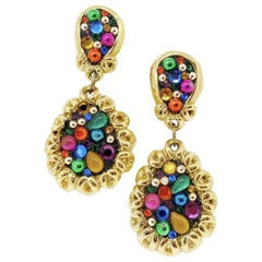 JACKY de G Vintage Clip-on Earrings in Gilt Metal and Multicolor Cabochons