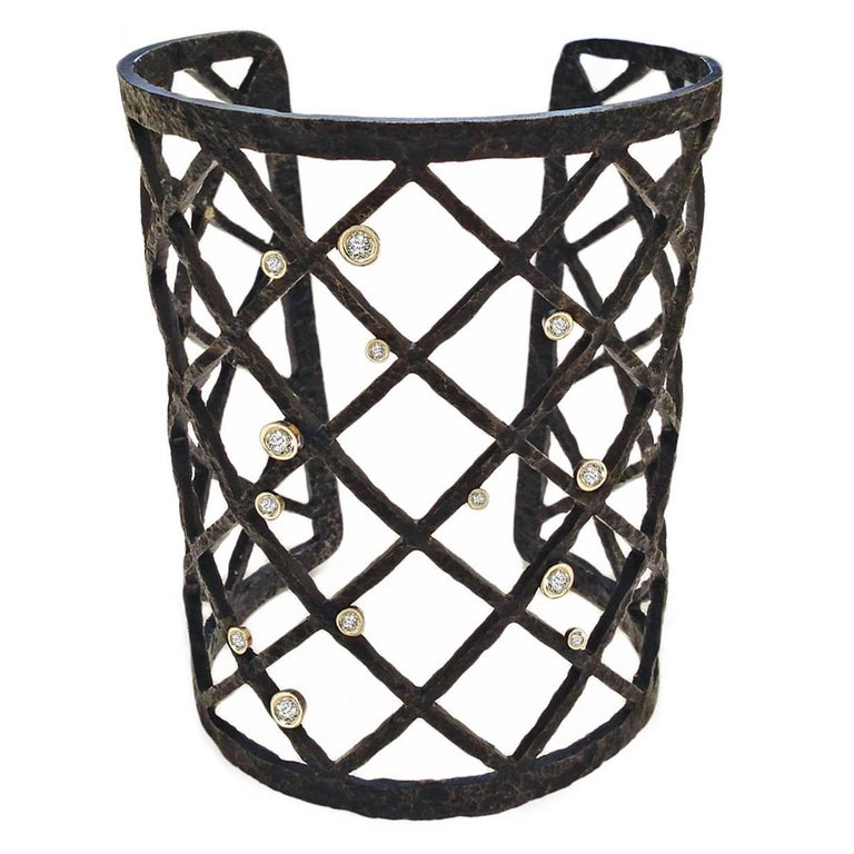 Jaclyn Davidson Black Steel Gold Diamond Grid Cuff Bracelet For Sale