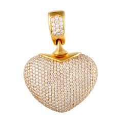 Jacob & Co. Full Diamond Pave Yellow Gold Heart Pendant