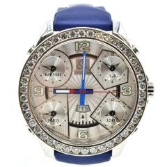 Jacob & Co. Stainless Steel Diamond Bezel Five Time Zone Quartz Wristwatch