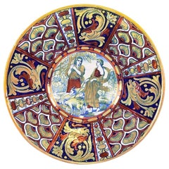 Jacob and Rachel Biblical Scene, Ceramic Decorative Plate, Italy, 1930s