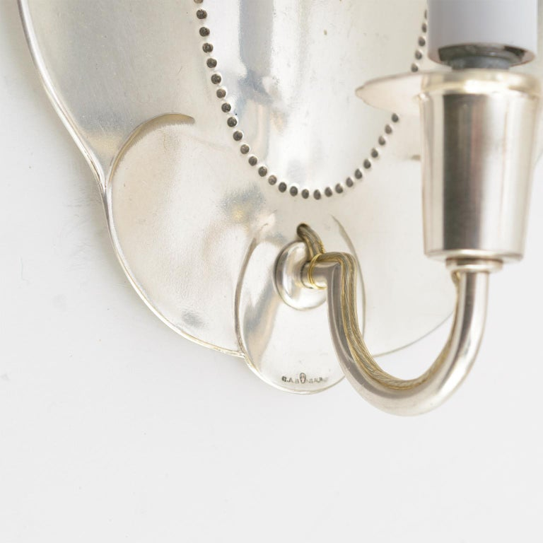 Silvered Jacob Angman for GAB Silver Plated Swedish Art Deco Sconces Newly Electrified For Sale