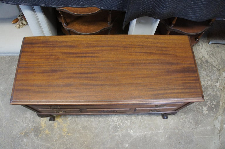 Mid-20th Century Jacob Bloom Co. American Mahogany Chippendale Cedar Chest Wardrobe Coffer Trunk For Sale
