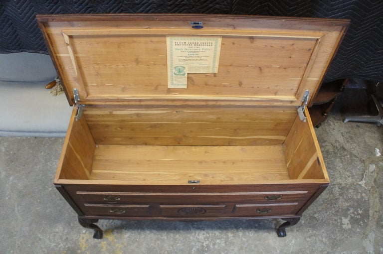 Jacob Bloom Co. American Mahogany Chippendale Cedar Chest Wardrobe Coffer Trunk For Sale 5