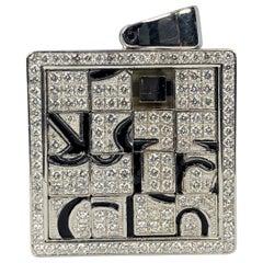 Jacob & Co. 18 Karat White Gold Men's Round White Diamond 2 Carat Puzzle Pendant
