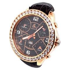 Jacob & Co. Five Time Zone JC-9 18 Karat Rose Gold Diamond Bezel Beautiful