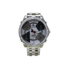 Jacob & Co. Five Time Zone MOP Dial Diamond Bezel Stainless Steel Box Papers