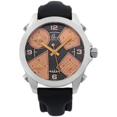 Jacob & Co. Five Time Zone Stainless Steel Black Bronze Dial Quartz Men's Watch