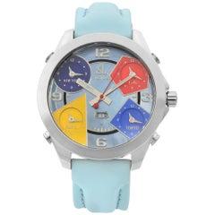 Jacob & Co Five Time Zone Steel Blue MOP Dial Quartz Men's Watch JC-8-SDV3