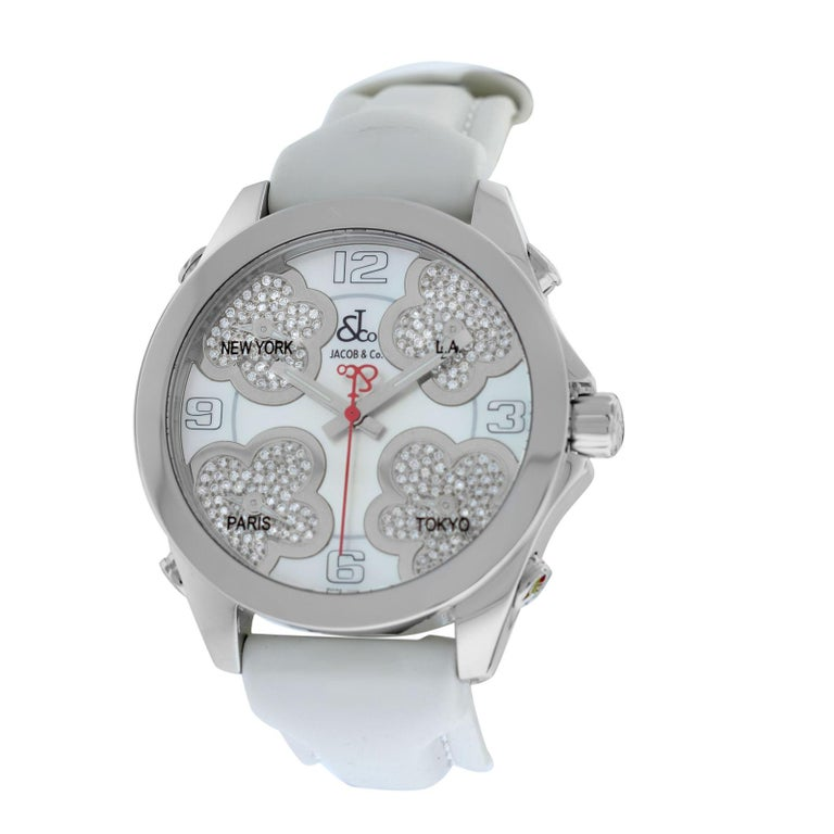 Jacob & Co. Five Time Zone Steel Mother of Pearl Diamond Watch For Sale