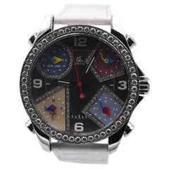 Jacob & Co Five Time Zone Watch with Diamond Bezel, Diamond Mother of Pearl