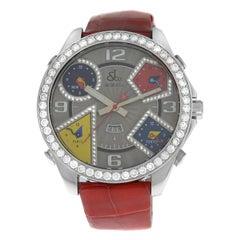 Jacob & Co. Five Time Zones Steel Diamond Bezel Dial Date Quartz Watch