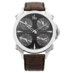 Jacob & Co. Palatial 5 Time Zone Steel Black Dial Men's Watch PZ500.10.NS.LA.A