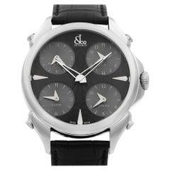 Jacob & Co. Palatial 5-Time Zone Steel Black Dial Men's Watch PZ500.10.NS.LA.A