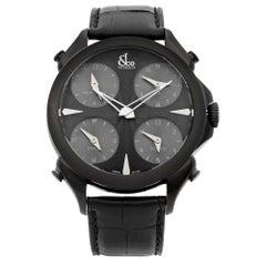 Jacob & Co. Palatial 5 Time Zone Steel Black Dial Men's Watch PZ500.11.NS.LA.A