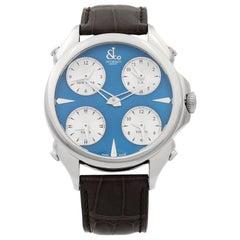 Jacob & Co. Palatial 5 Time Zone Steel Blue Dial Men's Watch PZ500.10.NS.DH.A