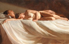 """Anna and Arturo"", Jacob Collins, Classical Nude, 42x60, Original Oil on Canvas"