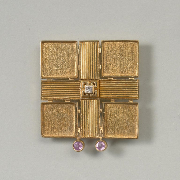 Jacob de Groes Square Gold Brooch and Earrings For Sale 1