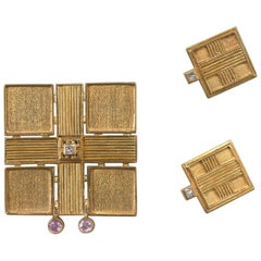 Jacob de Groes Square Gold Brooch and Earrings