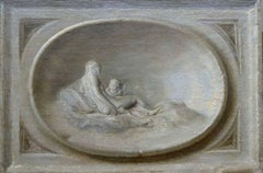 A decorative oval relief with Venus and Cupid