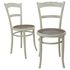 Jacob & Josef Kohn Vienna Secession Patinated Chairs with Wicker Seats, Pair